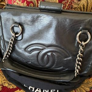 CHANEL SOFT DISTRESSED CALFSKIN LEATHER BAG. RARE!